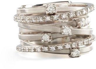 Marco Bicego Goa Seven-Row White Gold Diamond Ring, Size 7