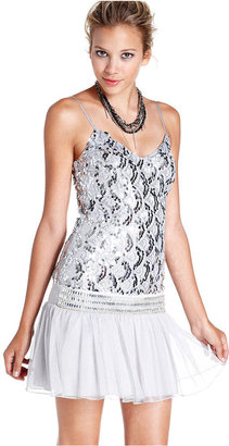 Speechless Juniors Dress, Spaghetti-Strap Sequin Tulle