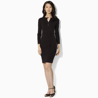 Lauren Ralph Lauren Ralph Leather-Trimmed Crewneck Dress