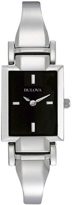 Bulova Womens Rectangular Black Dial Stainless Steel Bangle Watch 96L138 $149.25 thestylecure.com