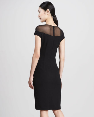 David Meister Illusion-Top Cocktail Dress