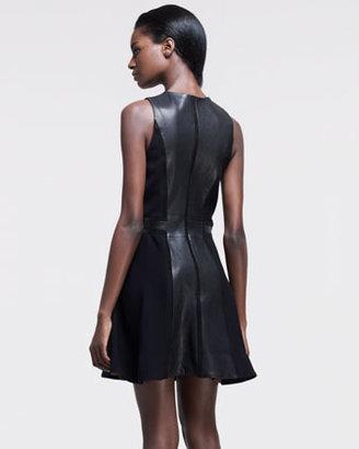 Rag and Bone Rag & Bone Rae Mix-Fabric & Leather Dress