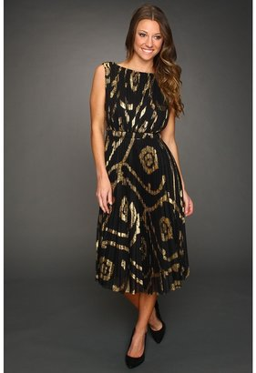 Jax Foil Mesh Sleeveless Dress (Black/Gold) - Apparel