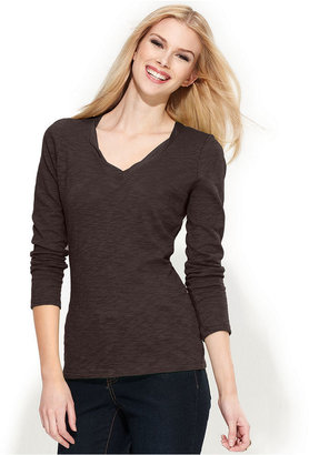 INC International Concepts Top, Long-Sleeve V-Neck Tee