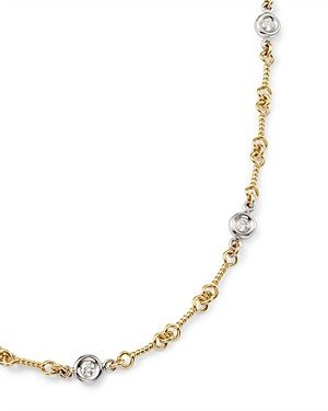 Roberto Coin 18K Yellow and White Gold Diamond Station Necklace, 16