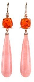 Irene Neuwirth Fire and Pink Opal Drop Earrings - Rose Gold