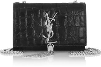 Saint Laurent Monogramme croc-effect leather shoulder bag