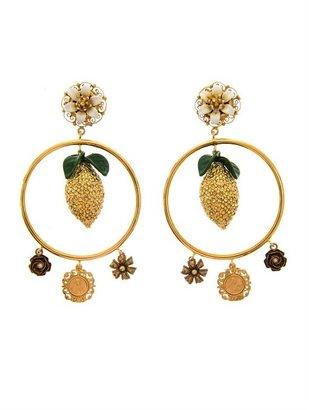 Dolce & Gabbana Lemon crystal-embellished hoop earrings