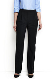 Lands' End Women's Tall Washable Wool Pleat Comfort Trousers-True Navy $95 thestylecure.com
