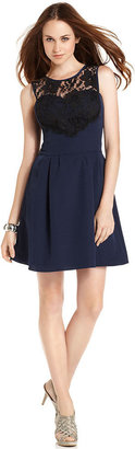 BCBGMAXAZRIA BCBGeneration Dress, Sleeveless Crew-Neck Lace Sweetheart A-Line
