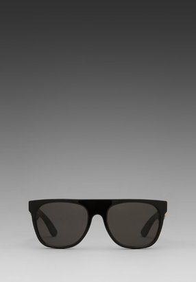 Super Flat Top in Black Crocodile/Black Crocodile