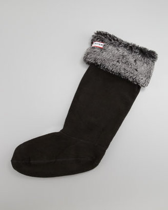 Hunter Grizzly-Cuff Fleece Welly Socks, Black