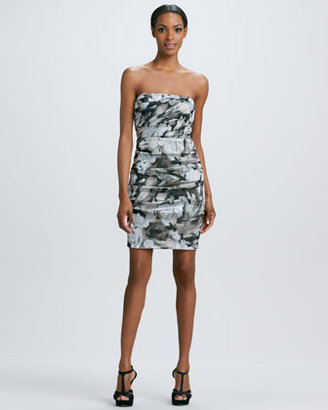 Nicole Miller Strapless Floral-Print Cocktail Dress