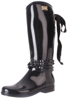 dav Women's Eve Solid Black with Black Belt Rain Boot
