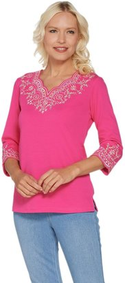 Factory Quacker Lacey Scallop Embroidered 3/4 Sleeve Top