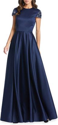 Mac Duggal Embellished Cap-Sleeve Pleated Satin Gown