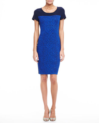 Magaschoni Jacquard Dress With Contrast Bodice