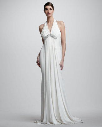 Notte by Marchesa Draped Halter Chiffon Gown
