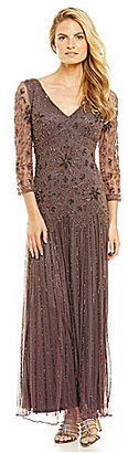 Pisarro Nights V-Neck Beaded Mesh Gown $198 thestylecure.com