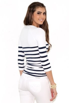 Tees by Tina Nautical Stripe Tee in White and Navy as Seen On Maria Menounos and Bethenny Frankel
