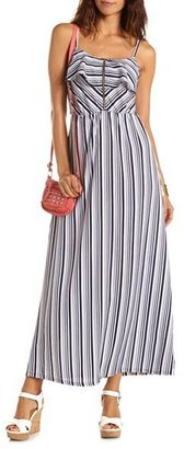 Charlotte Russe Zip-Front Striped Maxi Dress