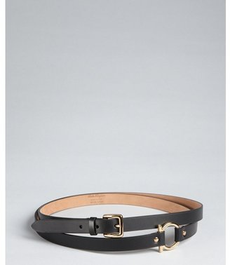 Salvatore Ferragamo black leather skinny wrap belt