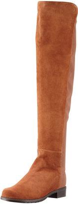 Stuart Weitzman 50/50 Narrow Suede Stretch-Back Knee Boot, Cuero