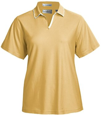 Outer Banks Egyptian Diamond-Knit Polo Shirt - Two-Ply Egyptian Cotton, Short Sleeve (For Women)