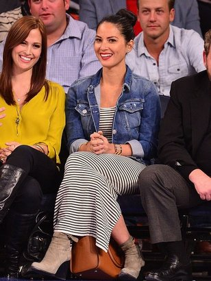 Tees by Tina Micro Stripe Dress in Oatmeal Heather/Navy as seen on Olivia Munn