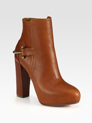 Ralph Lauren Teri Leather Saddle Ankle Boots
