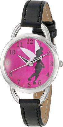 Disney Women's TK1036 Tinkerbell Hot Pink Sunray Dial Black Strap Watch
