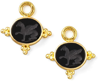 Elizabeth Locke 19k Gold Grifo Venetian Glass Earring Pendants, Black