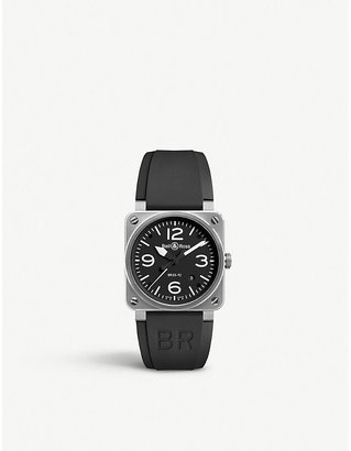 Bell & Ross BR0392BLST stainless steel and rubber strap, Mens, Black