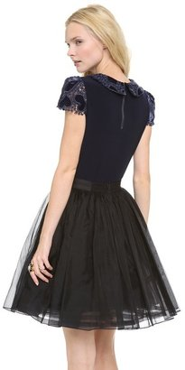 Alice + Olivia Marti Collar Top with Pleated Sleeves