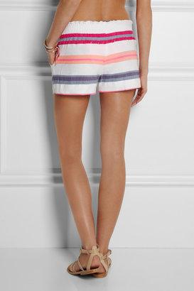 Lemlem Bathsheba striped cotton-blend voile shorts