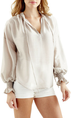 Finley Morrisey Smocked-Cuff Popover Top