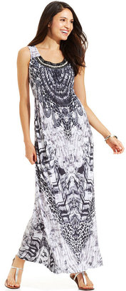 Style&Co. Printed Embellished Maxi Dress
