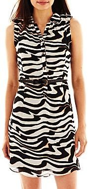 JCPenney Worthington® Belted Print Dress - Petite