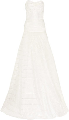 Lela Rose Embroidered silk-organza gown