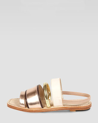 Elizabeth and James Nicki Mixed Media Slingback Flat Sandal, Blush