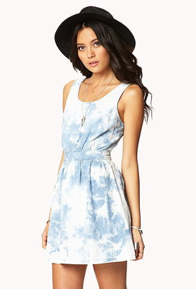 Forever 21 cutout tie-dye chambray dress