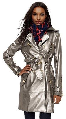 Glam Rock Metallic Faux Leather Trench Coat