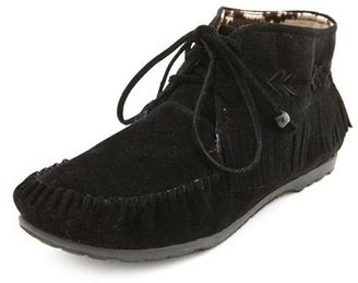 Charlotte Russe Sueded Fringe Moccasin Bootie