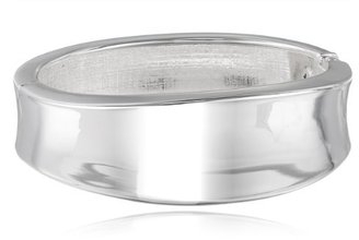 """Kenneth Cole New York """"Shiny Metals"""" Silver Sculptural Hinged Bangle Bracelet, 7.5"""""""