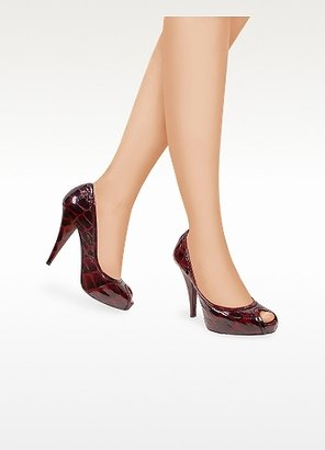 Mario Bologna Open Toe Wine Red Croco Stamped Platform Pump Shoes