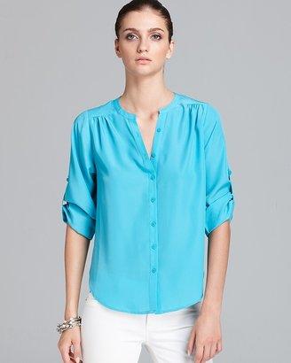 Aqua Blouse - Gathered Shoulder Tab Sleeve
