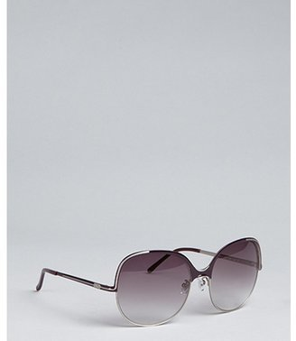 Chloé silver and plum metal round oversize sunglasse