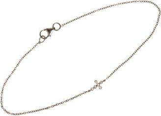 Ileana Makri Champagne Diamond & Oxidized White Gold Mini Cross Bracelet
