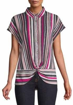 Jones New York Striped Twist-Front Button-Down Shirt