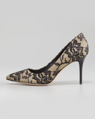 Brian Atwood Malika Pointed-Toe Lace Pump, Black